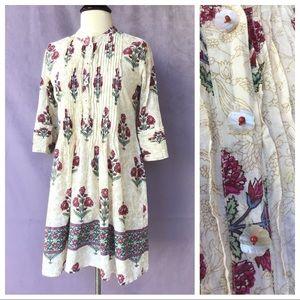 Vintage Boho Dress Pearl Flower Buttons L